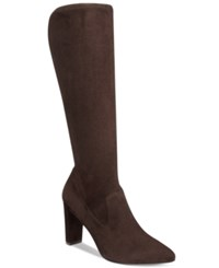Adrienne Vittadini Nanni Pointed Toe Tall Boots Women's Shoes Dark Brown