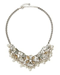 Lydell Nyc Crystal Cluster Statement Bib Necklace Multi