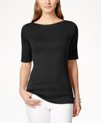 Charter Club Elbow Sleeve Boat Neck Pima Cotton T Shirt Only At Macy's