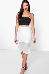 Boohoo Crochet Fit And Flare Midi Skirt Ivory