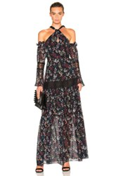 Nicholas Tiered Maxi Dress In Black Floral Black Floral