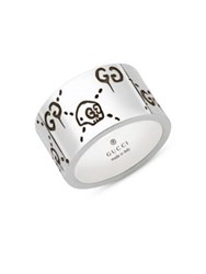 Guccighost Wide Sterling Silver Ring No Color