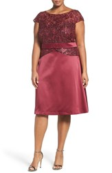 Brianna Plus Size Women's Embellished Lace And Satin Cocktail Dress