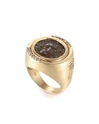 Coomi Antiquity 20K Two Sided Coin Ring With Diamonds Yellow