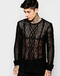 Asos Sheer Cable Jumper Black