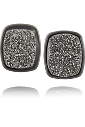 Dara Ettinger Alicia Gunmetal Plated Druzy Earrings Metallic