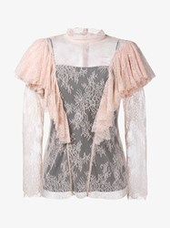 Philosophy Floral Lace Ruffle Blouse Pink Black