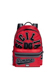 Dolce And Gabbana 'Sicilia' Patchwork Nylon Backpack Red