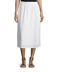 Neiman Marcus Linen A Line Midi Skirt Simply White