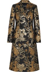 Dolce And Gabbana Double Breasted Metallic Floral Jacquard Coat Gold