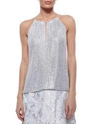Carmen Marc Valvo Halter Metallic Sequined Top