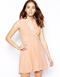 Pussycat London Wrap Front Skater Dress Pink