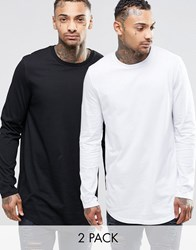 Asos Relaxed Longline Long Sleeve T Shirt With Curve Hem 2 Pack White Black Multi