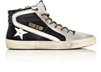 Golden Goose Men's Slide Suede And Leather Sneakers Black Light Grey White Black Light Grey White