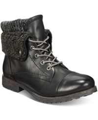 Ziginy Rock And Candy Spraypaint Cuffed Combat Booties Women's Shoes Black Sweater