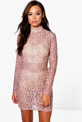 Boohoo High Neck All Over Lace Bodycon Dress Blush