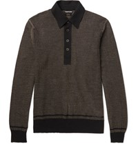 Tom Ford Jacquard Knit Cotton Silk And Cashmere Blend Polo Shirt Black