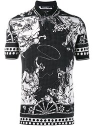 Dolce And Gabbana Western Print Polo Shirt Black