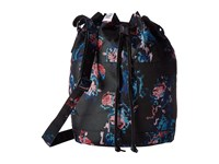 Herschel Heritage Mid Volume Floral Blur Black Pebbled Leather Backpack Bags
