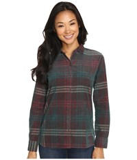 Woolrich Rappel Cord Shirt Dark Teal Women's Long Sleeve Button Up Blue