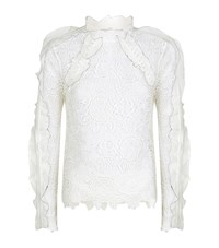 Self Portrait Floral Lace Top Female White