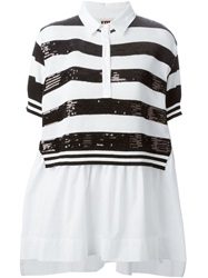 I'm Isola Marras Isola Marras Sequin Striped Polo Shirt Blouse White