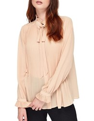 Miss Selfridge Long Sleeve Pleated Tie Neck Blouse Nude