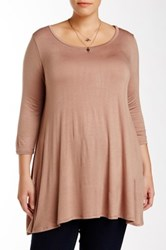 Wapi 3 4 Sleeve A Line Tunic Plus Size Brown