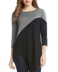 Karen Kane Color Block Tunic Top Charcoal Black