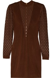 Balmain Mesh Paneled Stretch Knit Mini Dress Chocolate