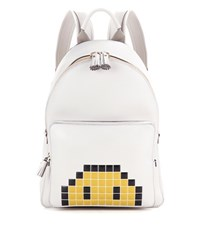 Anya Hindmarch Mini Pixel Smiley Leather Backpack White