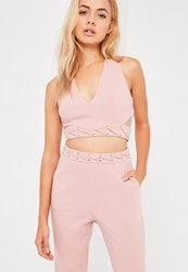 Missguided Nude Eyelet Lace Detail Cross Back Bralet