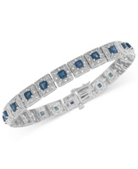 Macy's Sapphire 3 5 8 Ct. T.W. And Diamond 1 5 Ct. T.W. Tennis Bracelet In Sterling Silver