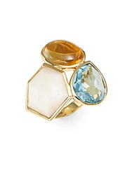 Ippolita Rock Candy Mother Of Pearl Orange Citrine Blue Topaz And 18K Yellow Gold Gelato 3 Stone Cluster Ring