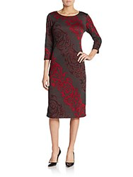Saks Fifth Avenue Printed Jersey Knit Midi Dress Red