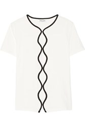 Opening Ceremony Embroidered Cutout Cotton Blend Top White