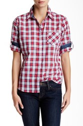 Sandra Ingrish One Pocket Plaid Button Down Petite Red