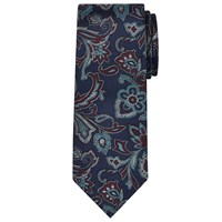 Chester Barrie By Paisley Woven Silk Tie Navy Claret