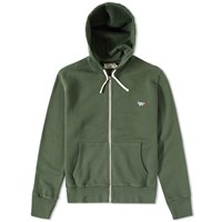 Maison Kitsune Tricolour Fox Zip Hoody Green