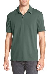 Men's James Perse Trim Fit Sueded Jersey Polo Black Bamboo Green
