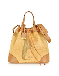 Alviero Martini 1A Prima Classe Geo Printed Neo Casual Bucket Bag Brown