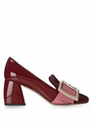 Miu Miu Block Heel Patent Leather Loafers Red Multi
