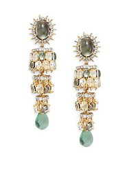 Alexis Bittar Elements Crystal Black Mother Of Pearl Aqua Green Crackle Crystal And Green Fluorite Clip On Drop Earrings Gold