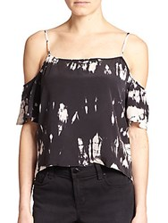 Gypsy 05 Tie Dye Silk Cold Shoulder Blouse Black White