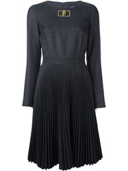 Class Roberto Cavalli Metallic Detail Pleated Dress Grey