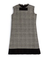 Lanvin Prince De Galles Plaid Shift Dress Black White Size 8 12 Girl's Size 10