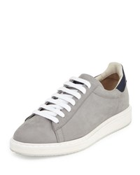 Brunello Cucinelli Icarus Suede And Leather Low Top Sneaker Gray