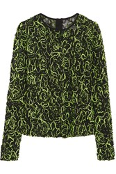 Milly Embroidered Mesh Top Yellow