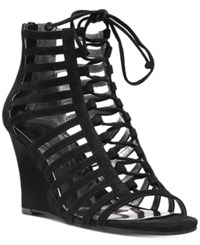 Carlos By Carlos Santana Danita Cut Out Lace Up Wedge Sandals Women's Shoes Black