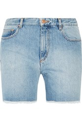 Etoile Isabel Marant Cedar Frayed Denim Shorts Light Denim